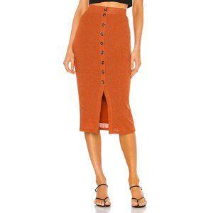 Privacy Please Kayleigh Midi Skirt in Rust Metalli